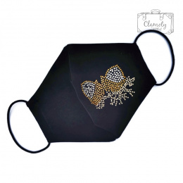 BLACK COTTON PROTECTIVE MASK SILVER-GOLDEN BUTTERFLY WITH DIAMENDS